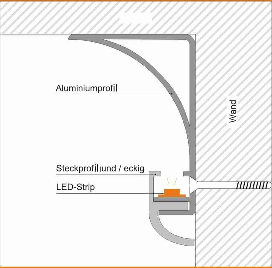 led f r direktes indirektes licht aluprofil f r. Black Bedroom Furniture Sets. Home Design Ideas