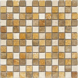 Bild von Travertin Mosaikfliesen Travertin hell, Travertin Noce 2,3x2,3x0,8cm