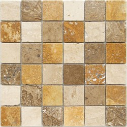 Bild von Travertin Mosaikfliesen Travertin hell, Travertin Noce, Travertin Gelb 4,8x4,8x0,8