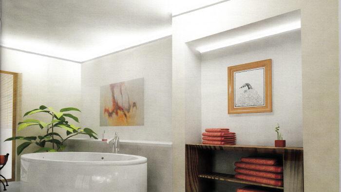 led f r direktes indirektes licht lichtleiste f r led deckenbeleuchtung als fliesenabschluss. Black Bedroom Furniture Sets. Home Design Ideas