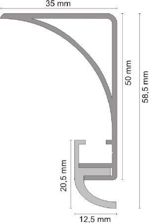 Aluprofil Für Deckenbeleuchtung 50 Mm Hoch Eloxiert Oder Weiß Rund