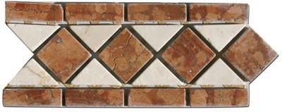 Marmor Mosaik Bord/üre Rot Creme Beige 30 x 5 cm Naturstein Fliesen Rosso Verona B667