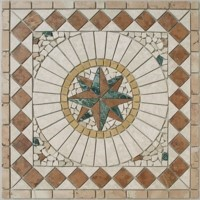 Antikmarmor Rosone 30x30 cm Windrose Mosaik Einleger Rosso Verona Rot Creme 026